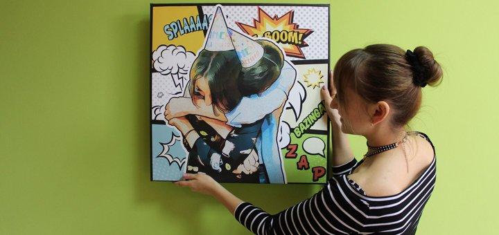Скидка на поп-арт портрет на холсте от «Popartbox»