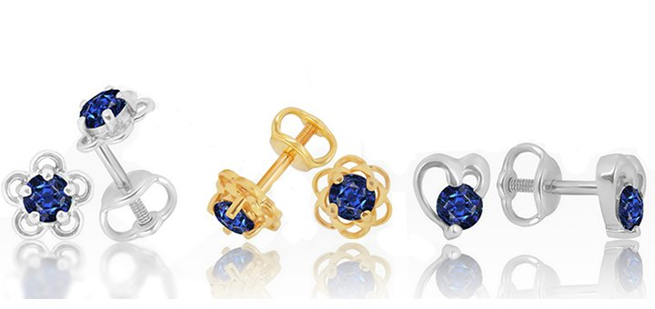 Скидка 25% на золотые серьги с драгоценными камнями в интернет-магазине «14 Карат»