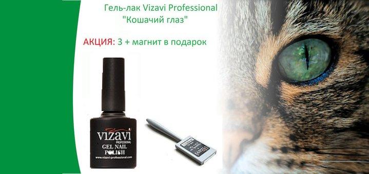 При покупке 3 гель-лаков Кошачий глаз «Vizavi Professional» – магнит в подарок