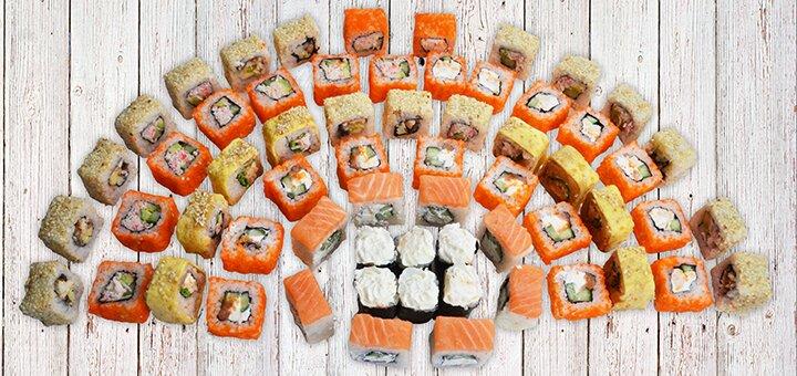 Скидка 53% на набор суши «Мега Микс» с доставкой или самовывозом от сети «Суши WOK»