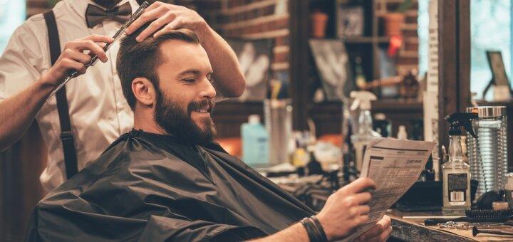 Мужская стрижка, укладка, королевское бритье и бокал виски или пива в барбершопе «WEST»